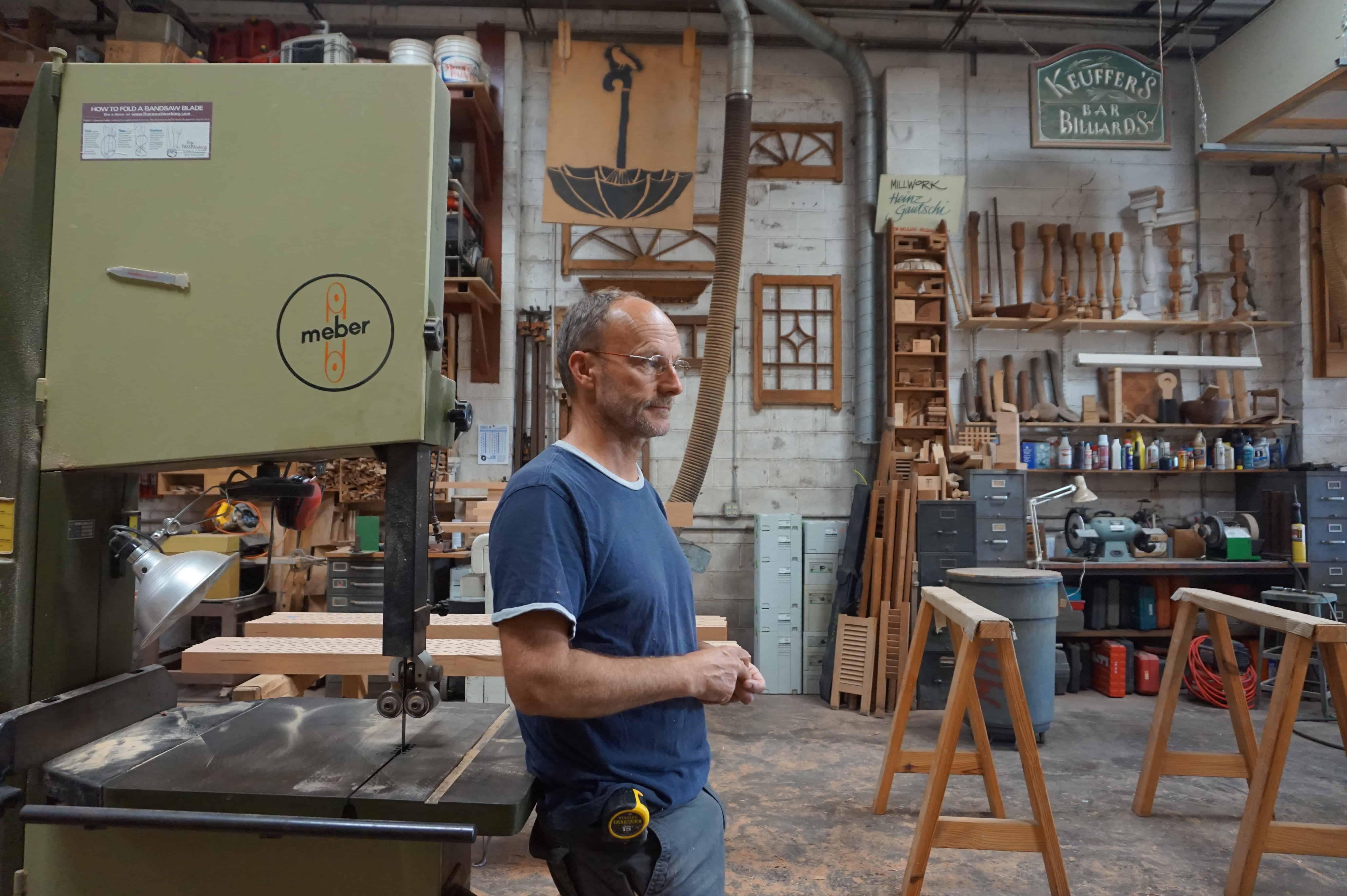 swiss woodworker heinz gautschi in his shop